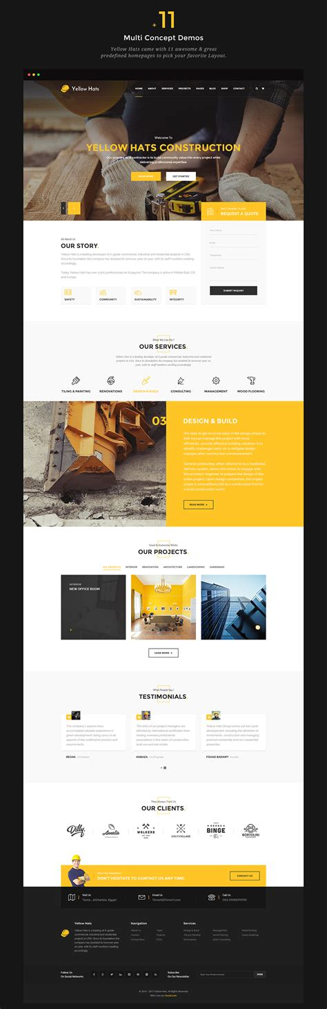 renovation theme yellow hats construction building renovation theme on