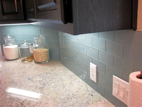 Kitchen With Glass Backsplash by Ocean Glass Subway Tile Subway Tile Outlet