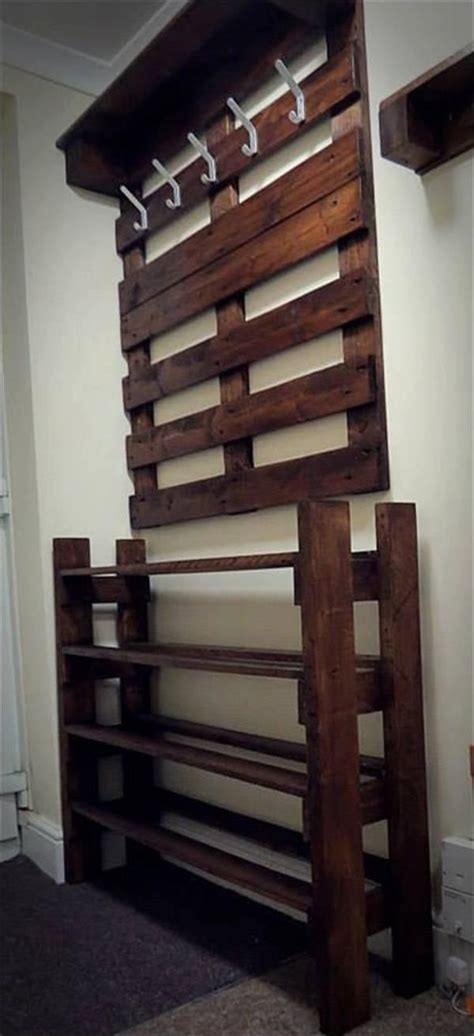 shoe and coat storage for hallway upcycled pallet hallway coat rack and shoes rack home