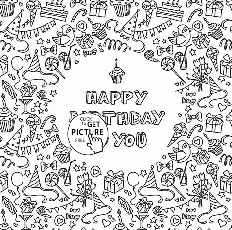 happy birthday   greeting card coloring page  kids
