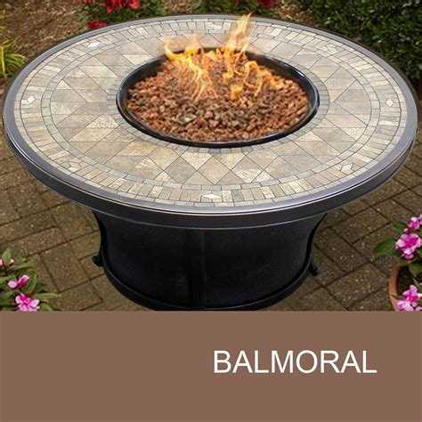 Agio Balmoral 48 Inch Round Porcelain Top Gas Fire Pit Gas Firepit Tables