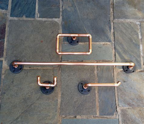 industrial bathroom accessories industrial design 4 pc bathroom set copper pipe by macandlexie