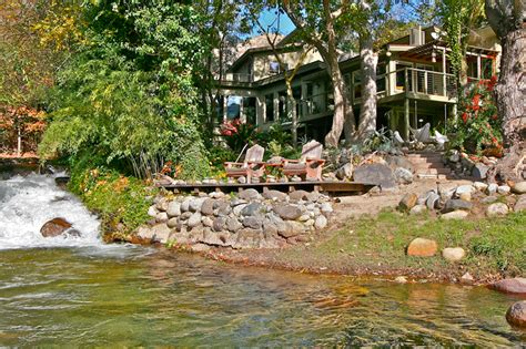 House With River Running Through It by Kaweah Falls House Three Rivers California A River Runs