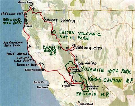 california map road trip pin tenaya lake yosemite national park on