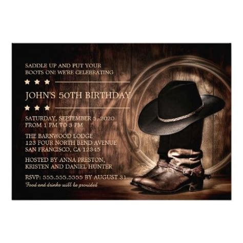 western themed birthday ecards country western wild west 50th birthday party card