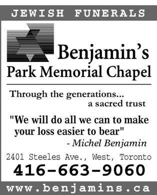 benjamin s park memorial chapel 2401 steeles ave w
