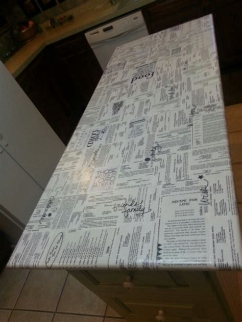 Decoupage Countertops - decoupaged cook book pages onto my center kitchen