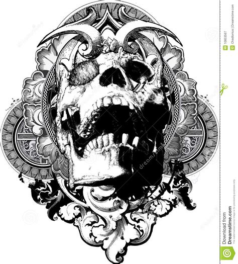 wicked skull shield illustration stock vector