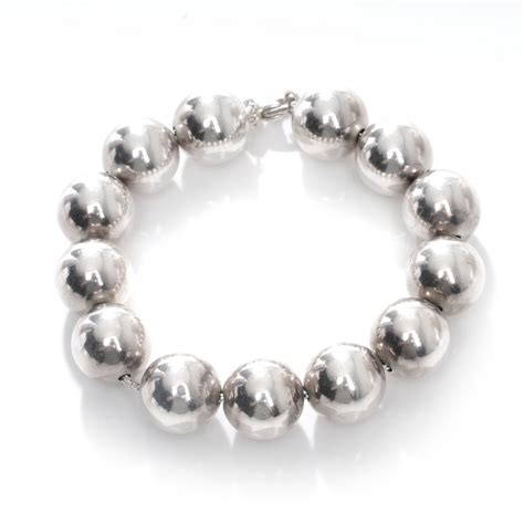 sterling silver bead bracelet co sterling silver large beaded bracelet 44636