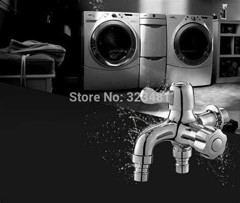 dual handle wall mounted washing luxury bathroom dual function washing machine water tap brass bibcock handle two spout