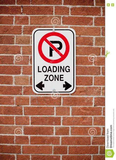 background zone loading loading zone sign on brick background