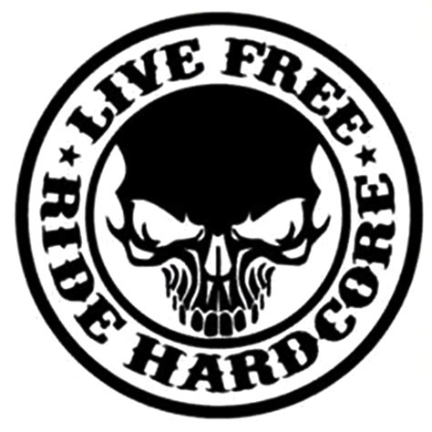 printable motorcycle stickers live free ride hardcore die cut vinyl decal pv1117