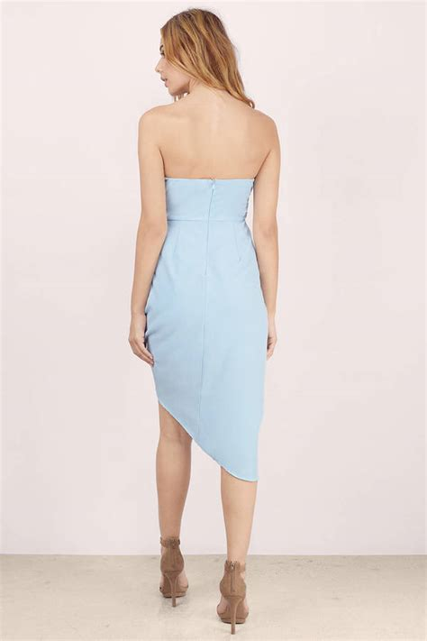 light blue strapless top light blue bodycon dress blue dress strapless dress