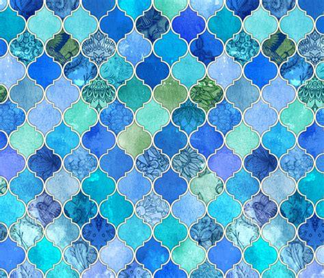 blue moroccan pattern cobalt blue and aqua decorative moroccan tiles fabric