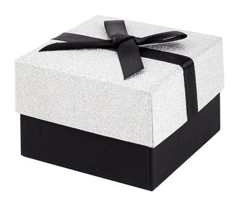 Bow Gift Box black and silver glitter gift box with black ribbon bow