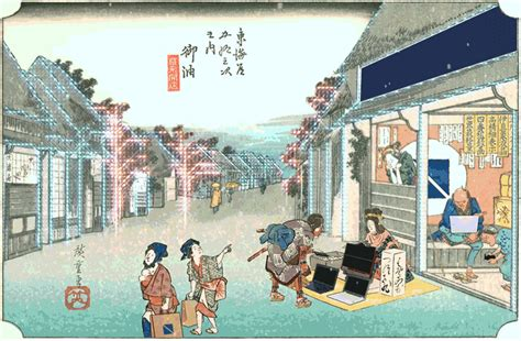 designboom ukiyo e animated woodblock print gifs include modern technology