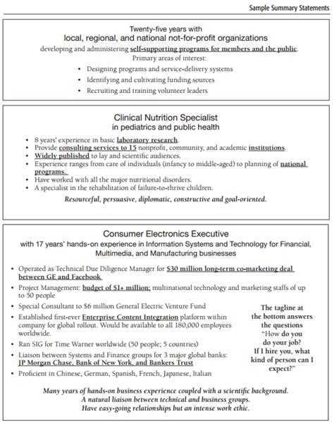 sle resume summary statement summary statement for resume 28 images summary