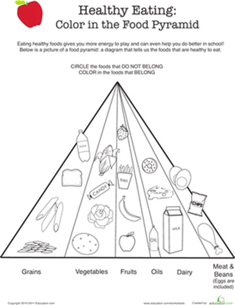 food pyramid coloring pages for kindergarten healthy eating color the food pyramid worksheet