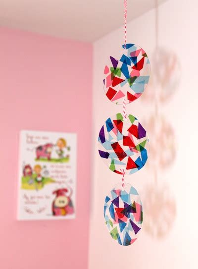 Paper Mobiles To Make - tissue paper stained glass mobile things to make and do
