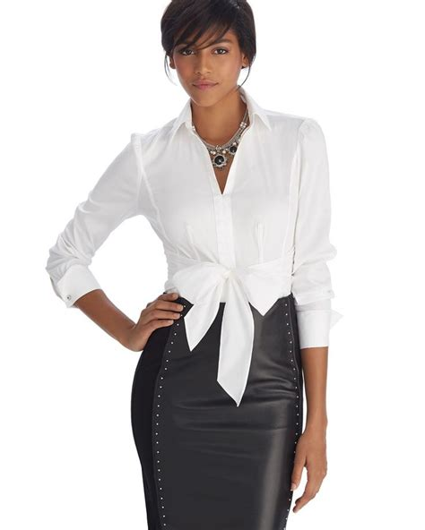 Pin D Iconic White by White House Black Market Iconic Siren Tie Front White
