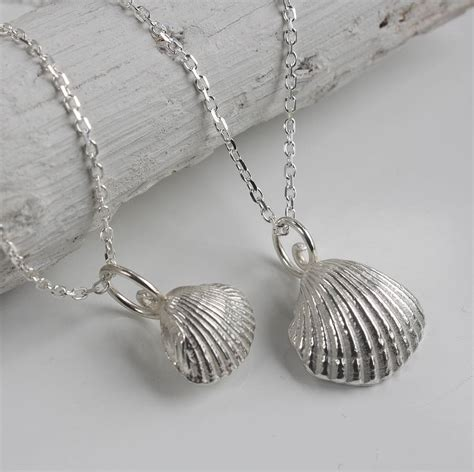 You Shell Pieces Necklace sterling silver clam shell necklace by caroline brook