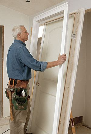 How To Hang A Prehung Exterior Door Prehung Door 36 In X 80 In Unassembled Unfinished Paint Grade Flush Mount Bookcase Wood
