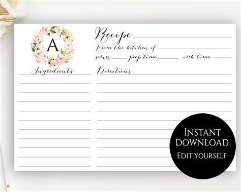 editable recipe card template recipe card template editable recipe cards monogram recipe
