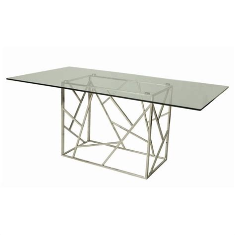 Glass Rectangular Dining Table Pastel Furniture Firouzeh Rectangular Glass Top Dining Table In Chrome Firouzeh Tbl Kit