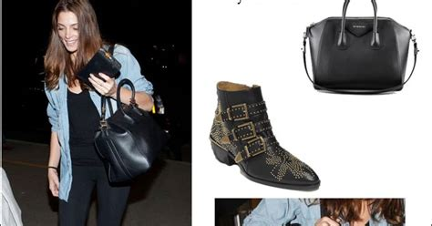 Givenchy Arielle Studded1660 what she wore greene at lax in black studded boots with givenchy black satchel i