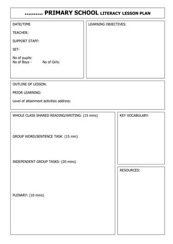 lesson plan template uk blank literacy lesson plan by gwright78a teaching