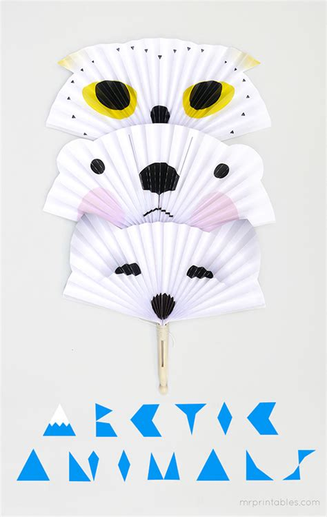 Crafts Arctic Animals And Paper On - arctic animals diy paper fans mr printables