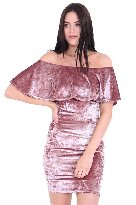 Shoulder Velvet Bodycon Dress bardot shoulder ruffle frill top crushed velvet