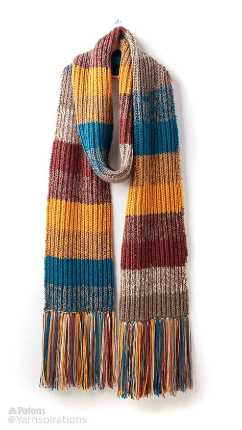 Striped Scarf marl stripe knit scarf patterns yarnspirations