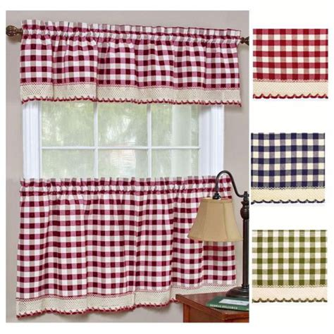 Checkered Kitchen Curtains Checkered Kitchen Curtains Black 3 Kitchen Curtain Set Plaid Checkered Gingham Taupe Beige
