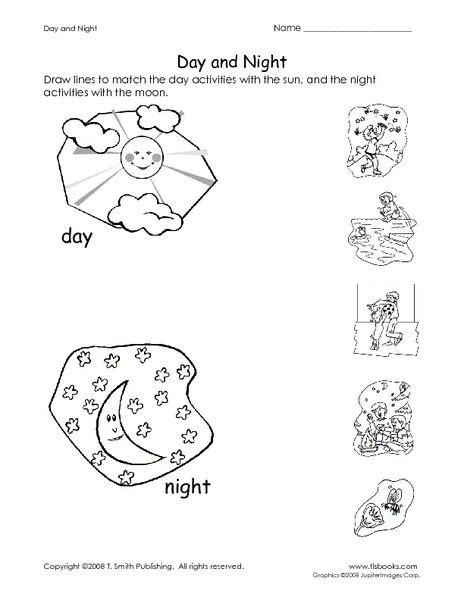 day and night coloring page for kindergarten day and night worksheet lesson planet day night