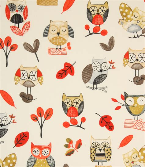 owl upholstery fabric ollie owl fabric red just fabrics