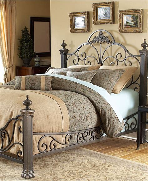 Bed Frames Manchester Manchester Gilded Slate King Bed Metal Bed Frame Beds Furniture Macy S Beddy