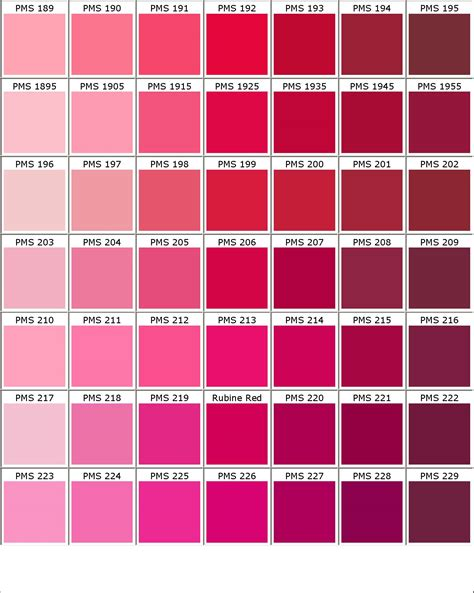 Pantone shades of pink color chart home ideas pinterest