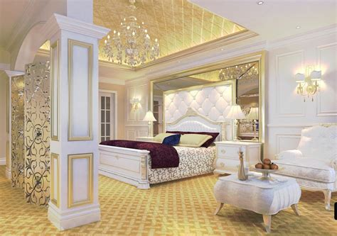 Luxury Bedroom Furniture Uk Luxury Bedroom Golden Ceiling And White Furniture Interior Design