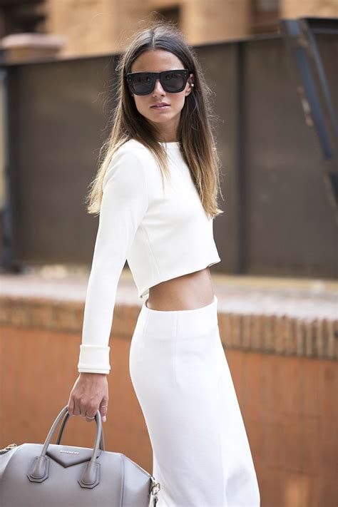 understated chic in white crop top pencil skirt from zara