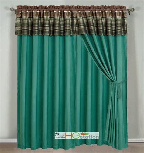 Teal Valance 4 Pc Woodland Jacquard Striped Curtain Set Teal Brown