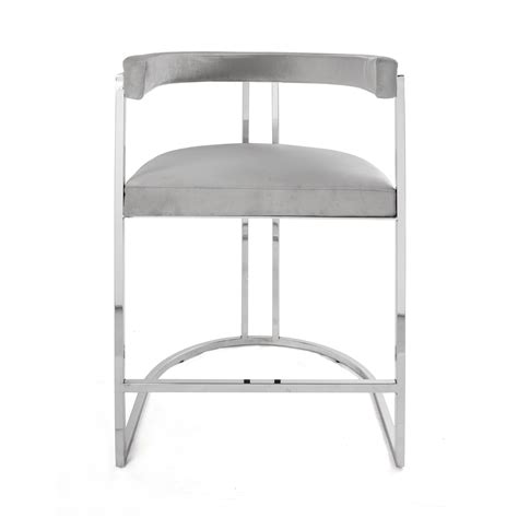 Grey Velvet Counter Stools by Cromwell Nickel Grey Velvet Counter Stool Shop Now