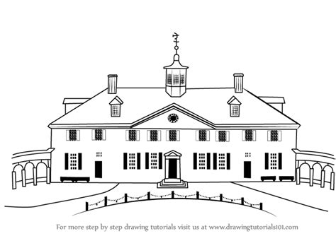 mt vernon architectural drawing with floor plan of learn how to draw mount vernon other places step by step
