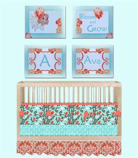 Aqua Nursery Decor Baby Nursery Aqua Coral Decor Set Of 4 Floral Wall Prints Personalized Decor