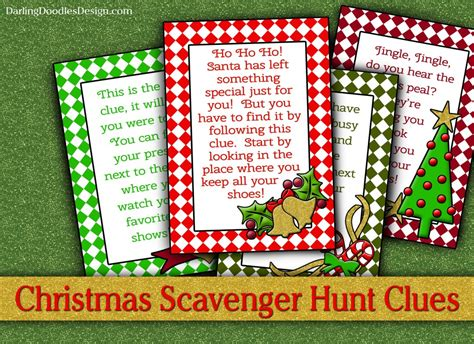 christmas scavenger hunt cards darling doodles