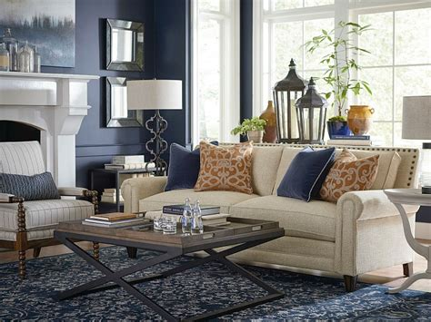 blue and cream living room moody monday transitional blues and grays