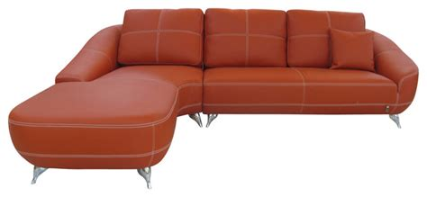 Zuri Furniture Orange Lucy Leather Sectional Sofa View Houzz Sectional Sofas