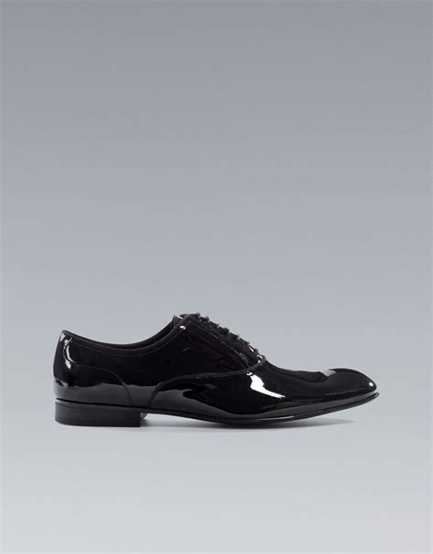 black patent oxford shoes zara asymmetric patent leather oxford shoe in black for