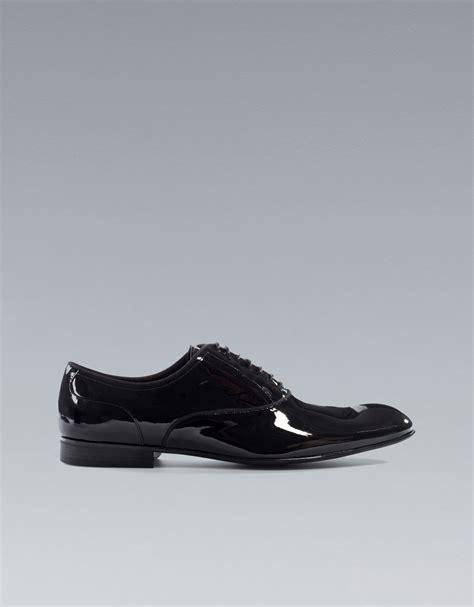 patent leather oxford shoes zara asymmetric patent leather oxford shoe in black for