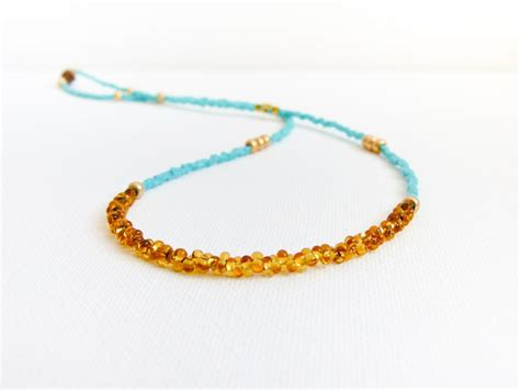 turquoise seed bead necklace turquoise gold topaz tiny seed necklace on luulla